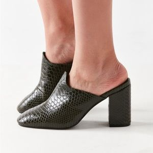 Urban Outfitters alligator print mules